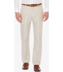 perry ellis men's classic-fit linen blend herringbone pants