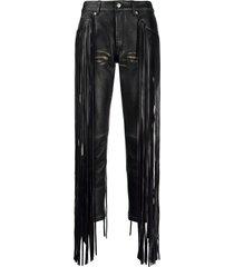 golden goose fringe trim straight-leg trousers - black