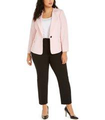 le suit plus size one-button pants suit