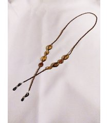 unisex oval amber brown acrylic bead and glass eyeglass cord 26 inch length