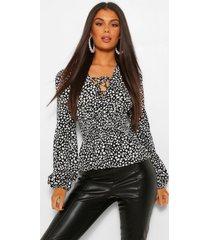 geweven geplooide blouse met plooien, black