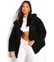 oversized faux fur teddy jas, zwart