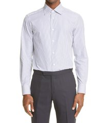 men's ermenegildo zegna trofeo stripe button-up shirt, size 41 - blue