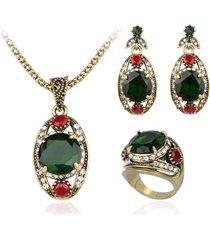 gioielli di lusso ciondolo set verde gemma strass anello collane orecchini gioielli etnici per le donne