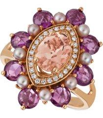 le vian multi-gemstone (2-7/8 ct. t.w.), strawberry pearl (2-1/3mm) & vanilla diamond (1/10 ct. t.w.) statement ring in 14k rose gold