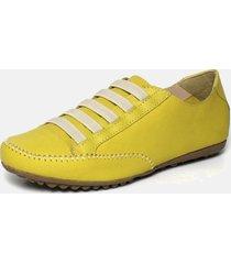 tãªnis torani sapatãªnis casual couro amarelo - amarelo - feminino - couro - dafiti