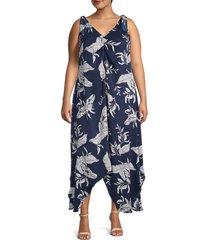 estelle women's plus leaf-print asymmetrical dress - navy print - size 4x (26-28)