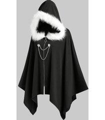 faux fur hooded chain detail handkerchief cape