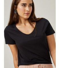 amaro feminino blusa básica v, preto