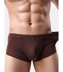 boxer da uomo nylon traspirante sottile colore puro senza cuciture di seta ghiaccio