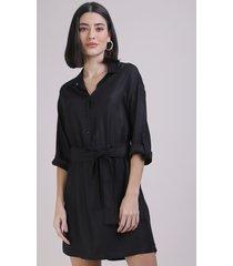 vestido chamise feminino curto manga longa preto