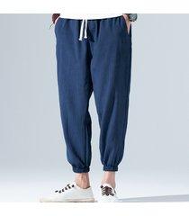 l'estate degli uomini traspirante in lino stile cinese coulisse vita elastica in tinta unita casual pantaloni