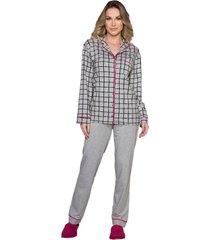 pijama vincullus manga longa com abertura frontal cinza - kanui