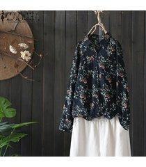 zanzea mujer botones de manga larga camisa estampada floral tops casual ethnic plus blusa -azul