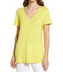 women's halogen v-neck tunic t-shirt, size large - yellow
