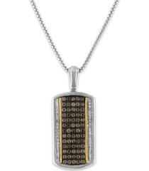 """esquire men's jewelry brown diamond (7/8 ct. t.w.) & white diamond (1/20 ct. t.w.) dog tag 22"""" pendant necklace in sterling silver & 10k gold, created for macy's"""