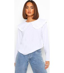 oversized shirt met ruches kraag en lange mouwen, white