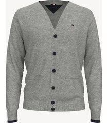 tommy hilfiger men's essential contrast cardigan grey heather - xxxl