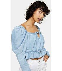 lightweight denim lace sleeve prairie crop shirt - mid stone