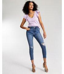 vanilla star juniors' curvy double-button skinny jeans