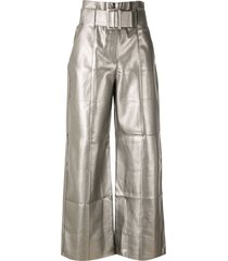 eva metallic belted flared trousers