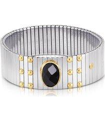 nomination designer bracelets, single black cubic zirconia stainless steel w/golden studs women's bracelet