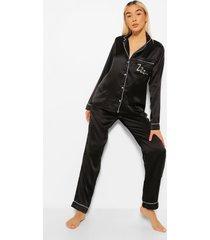 satijnen zzz pyjama set met knopen en broek