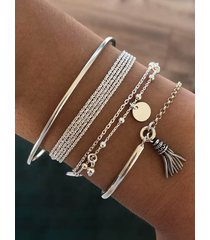 4pcs ethnic tassel beads layered bracelet set