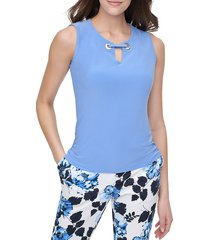 tommy hilfiger women's grommet sleeveless top - french blue - size xl