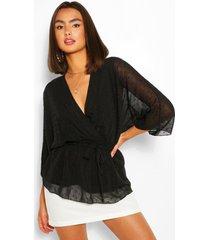 woven dobby kimono top, black