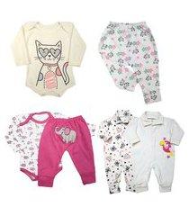 kit roupas de bebê maternidade 6 peças mini enxoval algodão rosa
