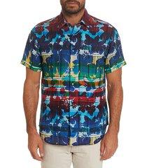 robert graham men's cul de sack classic-fit short-sleeve floral plaid sport shirt - size l
