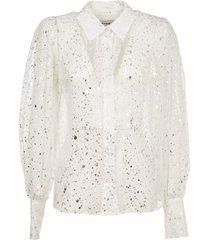 msgm white and silver silk shirt