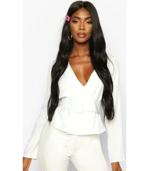 buckle detail wrap top, ivory