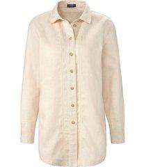 blouse van 100% linnen in iets langer model van basler beige