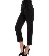 pantalón tipo linen negro nicopoly