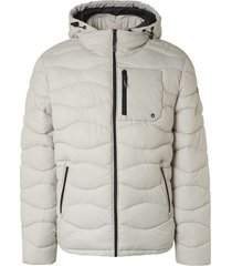 no excess jacket hooded padded wavy quilted chalk