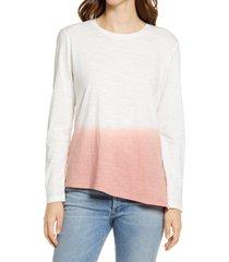 women's caslon dip dye asymmetrical shirt, size large - pink