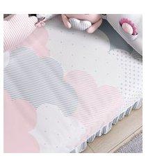 edredom bebê nuvem de algodáo rosa estampado gráo de gente rosa