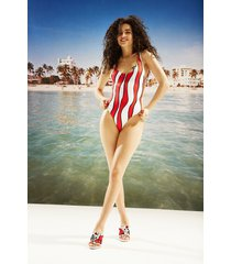 swimsuit with red waves - white - l