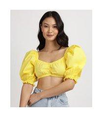 blusa feminina cropped manga bufante decote v amarela