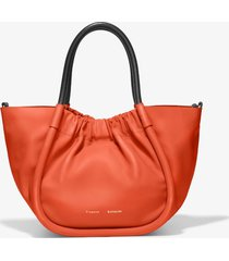 proenza schouler small ruched crossbody tote 820 tangerine tango/orange one size