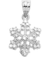 14k white gold charm, snowflake charm