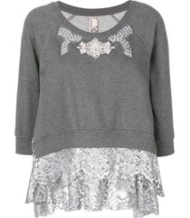 antonio marras embellished lace trim sweater - grey