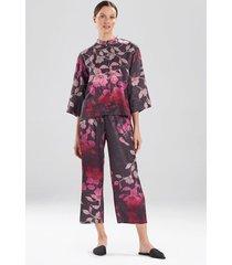 midnight bloom pajamas / sleepwear / loungewear set, women's, purple, size l, n natori