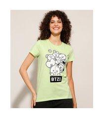 camiseta de algodão bt21 manga curta decote redondo verde claro