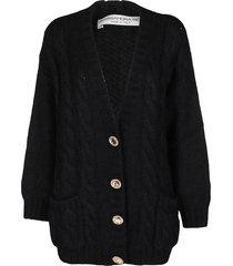 alessandra rich black mohair-wool blend cardigan
