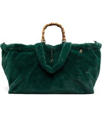 la milanesa faux-fur tote bag - green