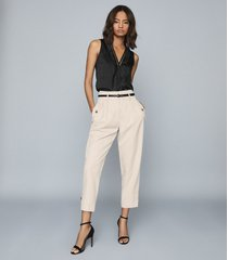 reiss chelsea - silk blend v-neck top in black, womens, size xl
