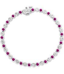 effy certified ruby (1-3/8 ct. t.w.) & diamond (3/4 ct. t.w.) bangle bracelet in 14k white gold
